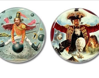 Baron Munchausen Buttons set of 2! (25mm, fables, badges, pins, children's books, fables)