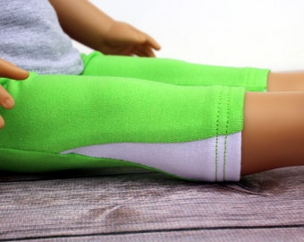 SAMPLE SALE - Fits like American Girl Doll Clothes - Capri Exercise Leggings in Lime and White | 18 Inch Doll Clothes