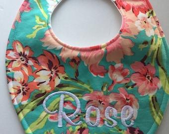 Aqua & Pink Floral Bib Baby Bib with Embroidery