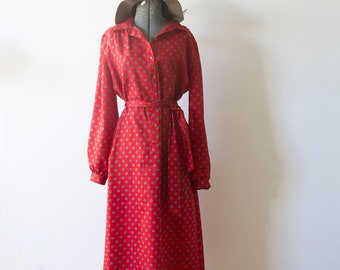 Vintage Red Dress/ Collared Dress/ Long Sleeved Dress/ Red/ Retro Dress/ Vintage Patterned Dress/ Buttoned Dress