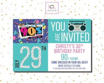 S Party Invitation Etsy - 90s birthday invitation templates
