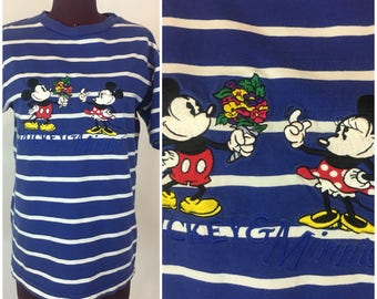 EMBROIDERED Disney Stretch T-Shirt Womens S Blue + White Stripes
