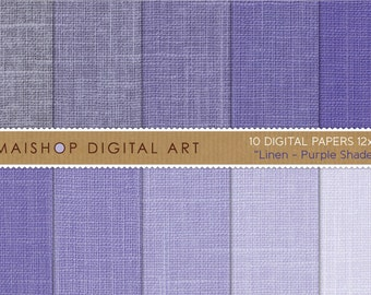 Digital Paper Linen 'Purple Shades' Textured Digital Backgrounds for Invites, Baby Showers, Cards, Scrapbook, Decoupage...