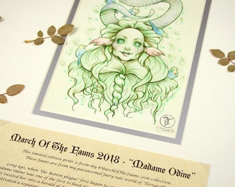 Madame Odine Story Edition- MarchOfTheFauns 2018 Limited Edition Double Matted Faun Print with Story Scroll