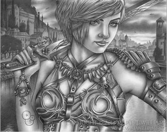 Cloudy With A Chance Of Swordfight - original graphite drawing
