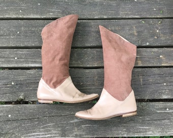 Size 8 Brown and Beige Leather Suede Tall Boots Via Spiga Women's Vintage Boots
