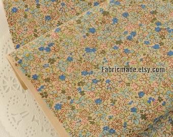 Floral Cotton Fabric- Tiny Vintage Flower Corduroy Cotton Fabric, Pink Blue Flower Fabric- 1/2 Yard