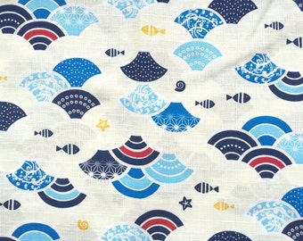 Japanese Fabric - Cotton Fabric -  1 Yard - Japanese Waves With Fish And More - Cream And Blue Fabric- Water Fabric 110 cm x 100 cm (F32-P2)