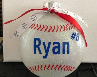 Personalized Baseball Glitter Glass Ornament--Large