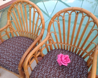 ALBINI STYLE ARM Chairs / Pair of Island style Bamboo Rattan Chairs /Mid Century Modern Rattan Chairs / 2 pairs avail at Retro Daisy Girl