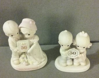 Package Deal On  Enesco Precious Moments Collection 50th Anniversary Figurines: 1983 E2860, 1995 163848, Both Flawless