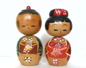 kokeshi doll vintage couple 10cms / 3,9 inches