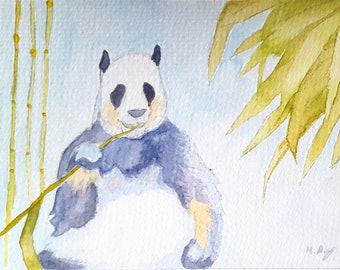 Panda Watercolour Print 6x4