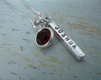 Personalized Hand Stamped Sterling Silver Necklace Birthstone   Bar