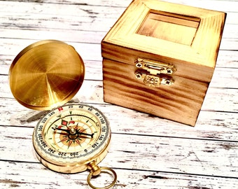 Engraved Compass, personalized  compass. Boxed compass - Front and/or back engraving - compass with keepsake box