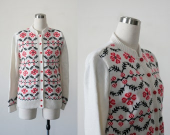 1960's Cardigan Sweater Womens Cardigan Long Sleeve White Sweater Mod Knit 60s Cardigan Floral Sweater Womens Sweater Red and Black