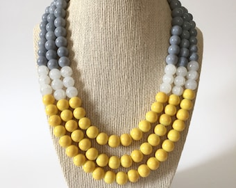 Gray Yellow and White Chunky Statement Necklace