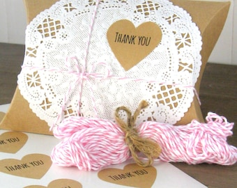 24 Thank you stickers - 1 1/2 inch heart sticker sheets - brown kraft heart stickers - favor seals