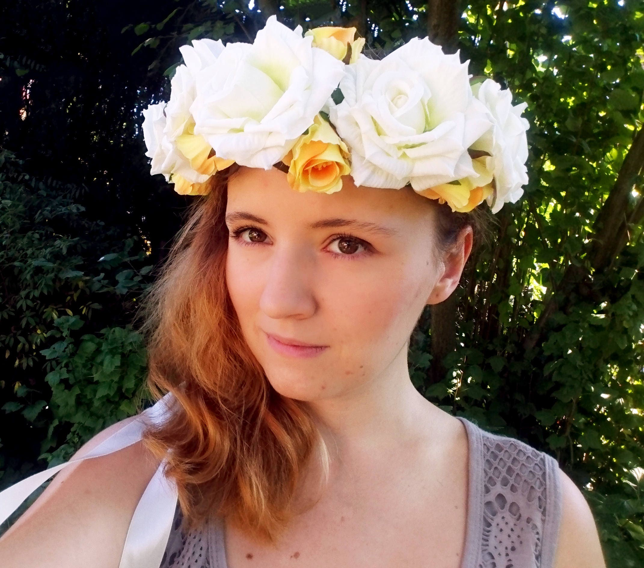 Silk flowers crown wreath ivory off white yellow rose wedding silk flowers crown wreath ivory off white yellow rose wedding ribbon flower girl bride summer realistic izmirmasajfo Image collections
