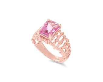 14k solid rose gold pink topaz ring. pink topaz ring,