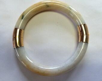 Jade and 14kt Gold  Bangle Bracelet