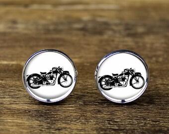 Motorcycle cufflinks, Motorbike cufflinks, Motorcycle jewelry