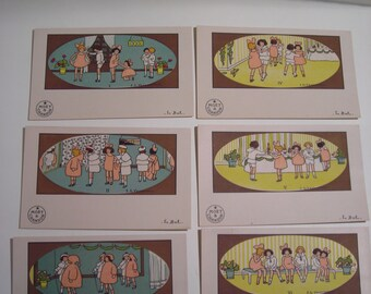 "Set of Moët et Chandon illustrated postcards ""Le Bal"" and ""Le pique-nique"" Champagne Cartes Postales with 3 Extra"