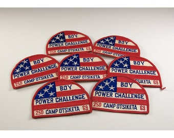 Vintage Collection of 7 Boy Scout Patches - Boy Power Challenge Troop 250 Camp Otsiketa 1969 St. Clair Michigan