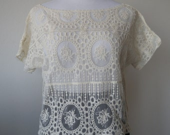 Floral Lace Blouse Top One Size Rice White Creamy White Color