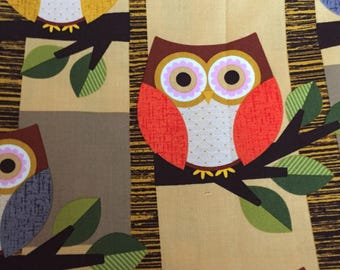 One Yard of Brown Owl Fabric -Halloween   fall  Autumn