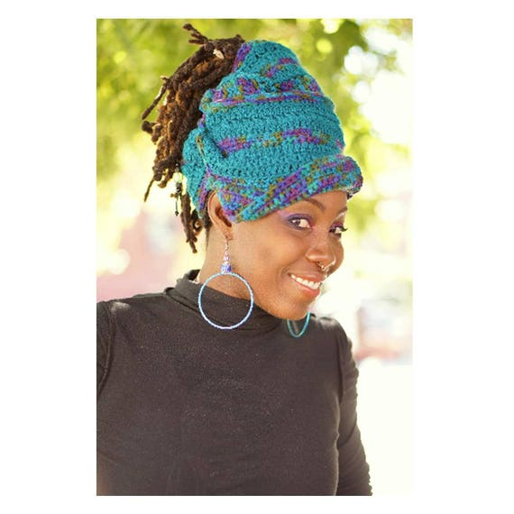 Gele 1 Acrylic. Crochet Hat. Gele Hat. Wraps. Loc hat. Dreadlock Hat.  Ta Ankh.