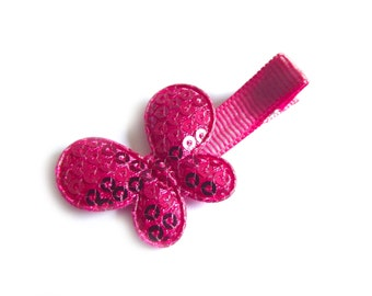 Hot Pink Butterfly Hair Clip Hot Pink Hair Clip Sequin Hair Clip Sequin Butterfly Baby Hair Clip Baby Girl Hair Clip Toddler Girl Clippie