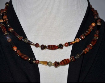 Bronze Long Necklace, Rust and Gold Beads, Long Beaded Necklace, 35 Inch Necklace, Brown Beaded Necklace, Amber Swarovski Crystals