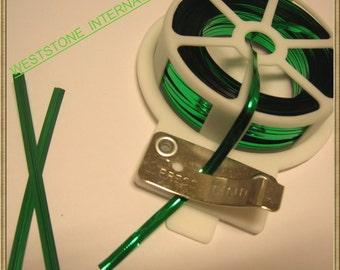 65FT Metallic Twist Tie Spool with Cutter - Green