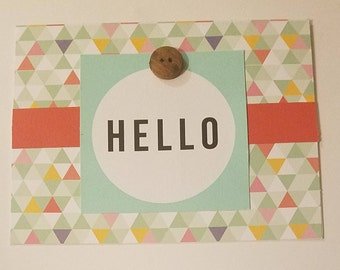 Hello Card, Turquoise and Triangles