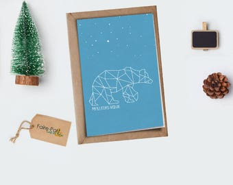 Christmas card / Origami bear greeting card