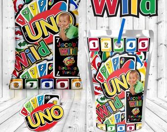UNO Party Favors-UNO Chip Bags-UNO Capri Sun Juice Pouch-Digital File Only