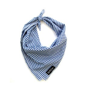 Blue Gingham Checkered Plaid Spring Summer Dog Bandana Traditional Knot Tie Accessory Small Medium Large