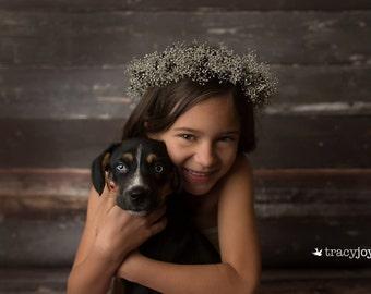 grey,silver and black dried baby breath crown,flower girl wreath