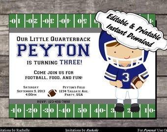 Football Invitation Birthday Party Blue  and Gray - Editable Printable Digital File with Instant Download