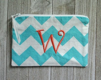 """Monogrammed Cosmetic Bag -  Zippered Pouch -  Make Up Bag - Peach """"W"""""""