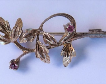Antique Sterling Silver and Ruby Floral Brooch Pin Etched Wedding Bridle Mother