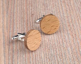 Wood Cufflinks, Round beech wood cufflinks, Wedding Cufflinks, 5th Wedding Anniversary Present, cufflinks for men, groomsmen, customized