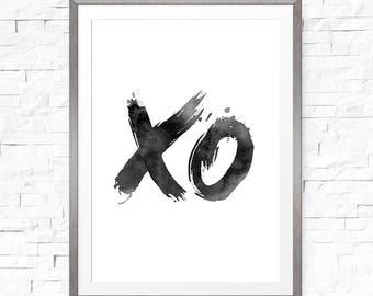 XO Print, Printable Art, Typography Poster, Printable Wall Art, XO Wall Decor, Scandinavian Art, Watercolor Art, Instant Download Art