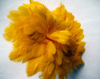 Rooster SCHLAPPEN FEATHERS - Strung Dyed YELLOW (3 inch -60 pieces)