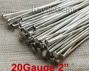 Antique Silver Tone Flat Head Pin 50mm 2 inches 20 Gauge Heavy Strong  -PN-H50x0.8AS - 100pcs