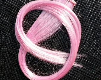Light Rose Pink Clip in up to 24 Inches Hair Extension Hand Wefted Gothic Steampunk Cosplay