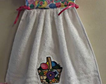 Hanging dress towel,hanging Easter towel,easter decor,kitchen decor,gift,hostess gift,Easter basket, Easter eggs,hanging towel