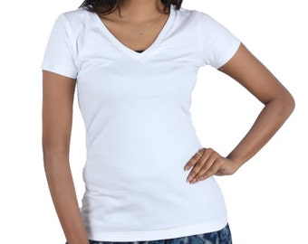 Womens Bamboo  V Neck  sort sleeves Tee, Regular and Plus size.