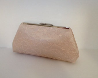 Champagne Lace Overlay Clutch Purse, Wedding, Special Occasion, Bridesmaid, Bridal, Lace, Clutch Purse